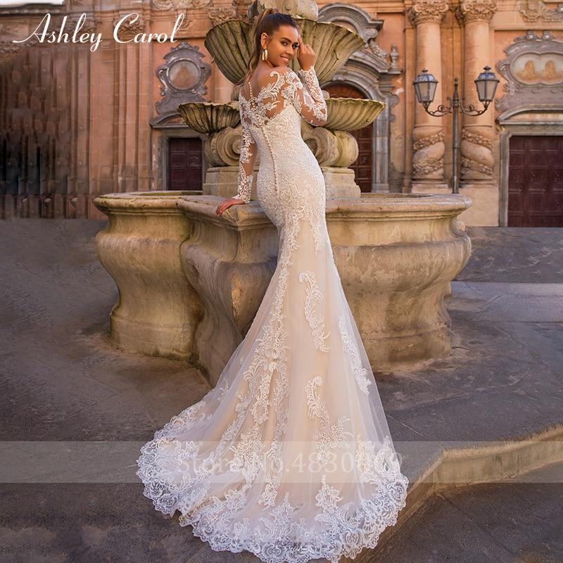 Ashley Carol Innamorato Sexy Lungo Del Manicotto Della Sirena Abito Da Sposa 2019 Treno Staccabile 2 In 1 Abiti Da Sposa Vestido De Noiva