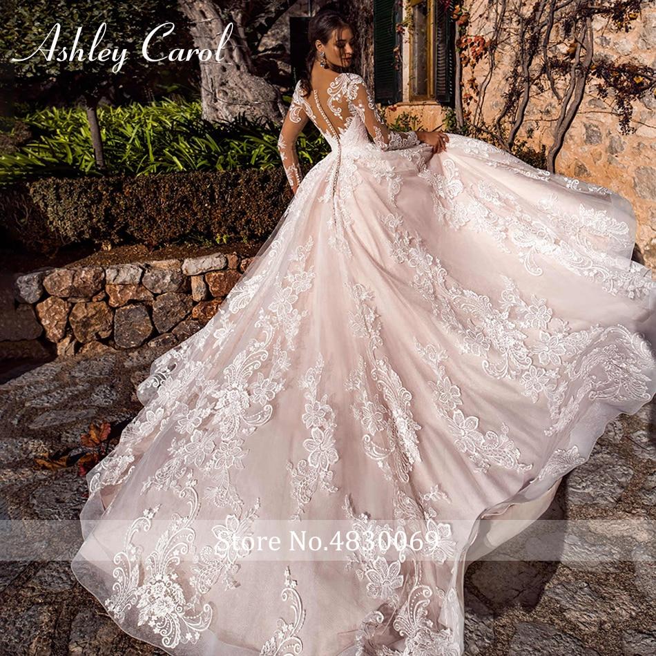 Ashley Carol Sexy scollo a V Appliques di Tulle Abiti Da Sposa 2019 Manica Lunga Della Principessa A-Line Abito Da Sposa Abiti Da Sposa D'epoca
