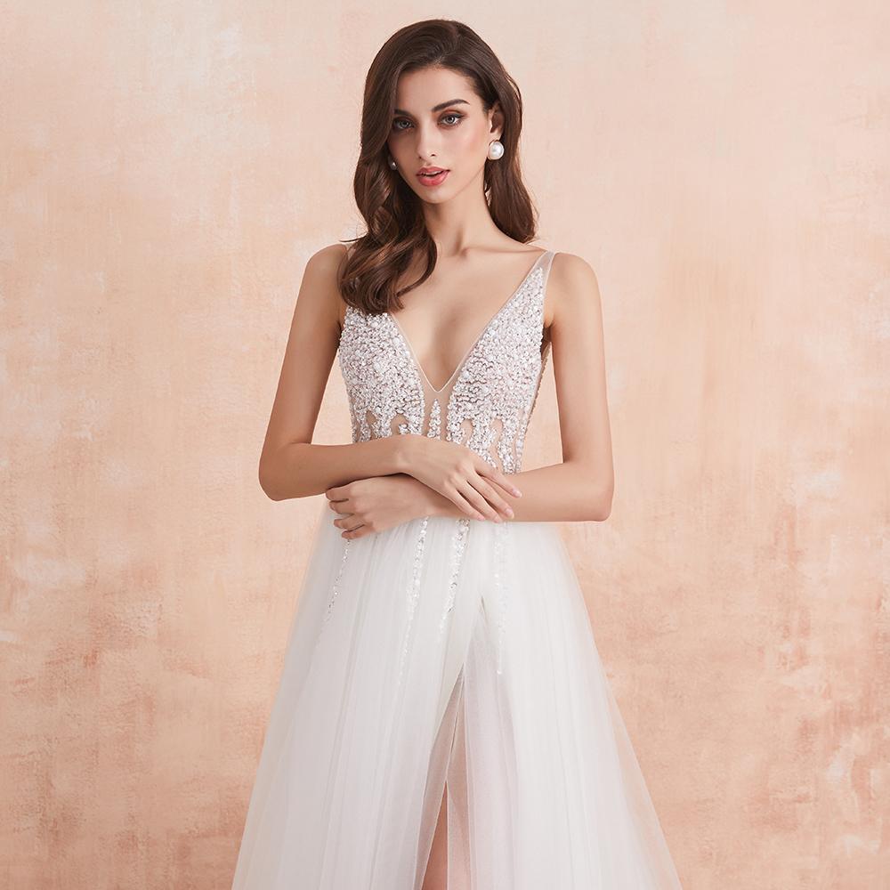 Scollo a V Abito da Sposa Bianco Avorio Sexy di Alta Split in Rilievo Che Borda Perle di Cristallo Una Linea Backless Abito da Sposa Vestido De noiva