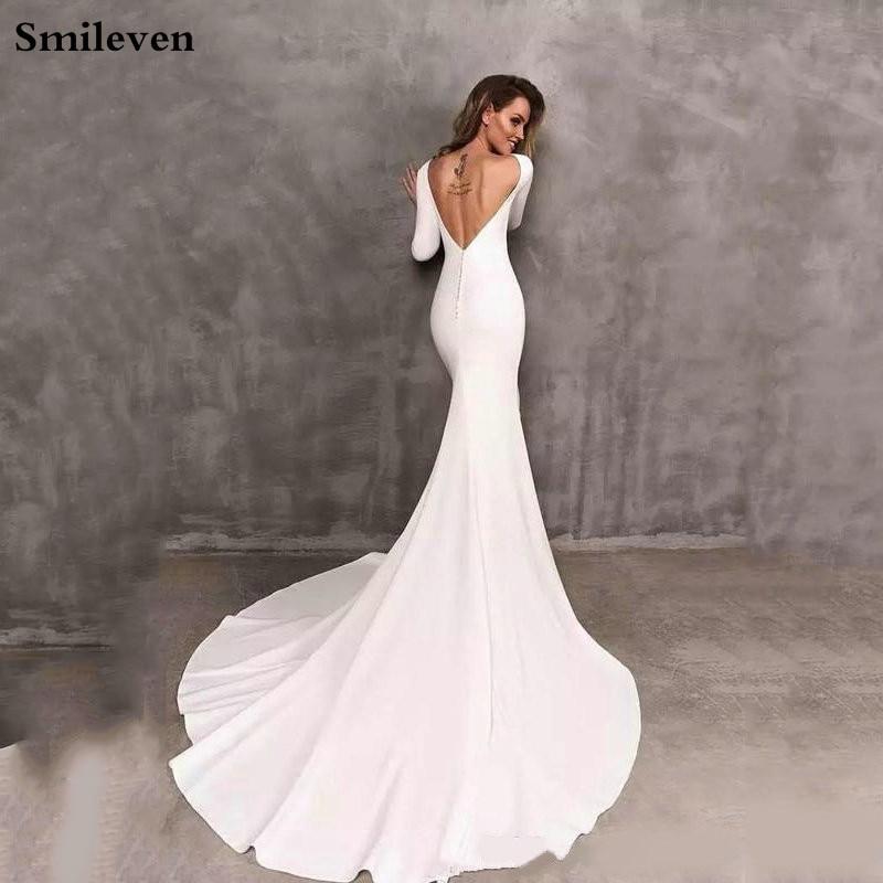 Smileven Della Sirena Abiti Da Sposa Manica Lunga Elegante Boho Abito Da Sposa In Raso Abiti Da Sposa 2020 Vestido De Noiva