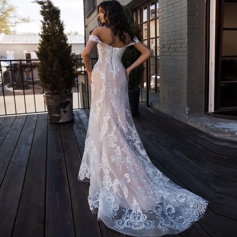 ADLN Sexy Abito Da Sposa Mermaid Al Largo della Spalla Senza Maniche In Pizzo Applique Abiti Da Sposa Robe De Mariage Sposa per la Sposa