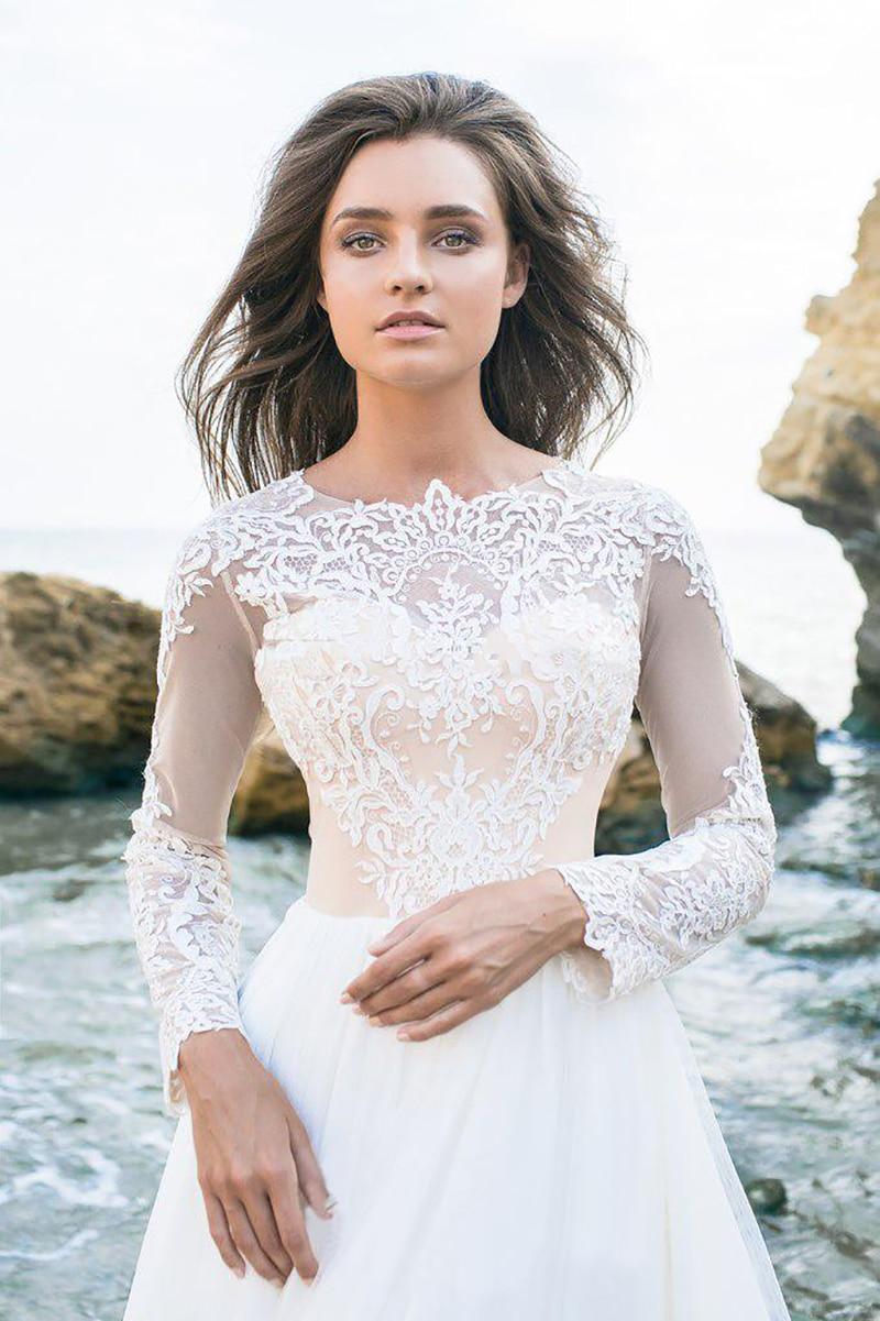 Abito Da Sposa in pizzo 2019 Manica Lunga Sexy Del Vestito Da Partito vestido de novia Bianco/Lvory Sposa Abiti In Chiffon Elegante Da Sposa abiti