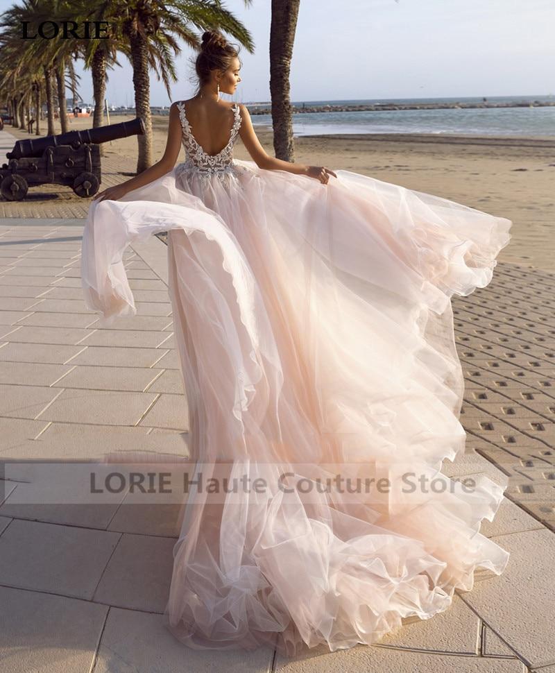 LORIE Principessa Abito Da Sposa 2020 Con Scollo A V Backless Vestito Da Sposa 3D Appliques Abiti di Cerimonia Nuziale Vestido Da Sposa