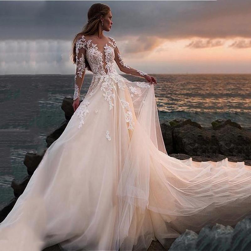 Illusion Completa Maniche Abito Da Sposa di Lusso Pulsante Backless Del Merletto Dell'abito di Sfera Abiti Da Sposa Su Misura Abito Da Sposa Robe De Mariage