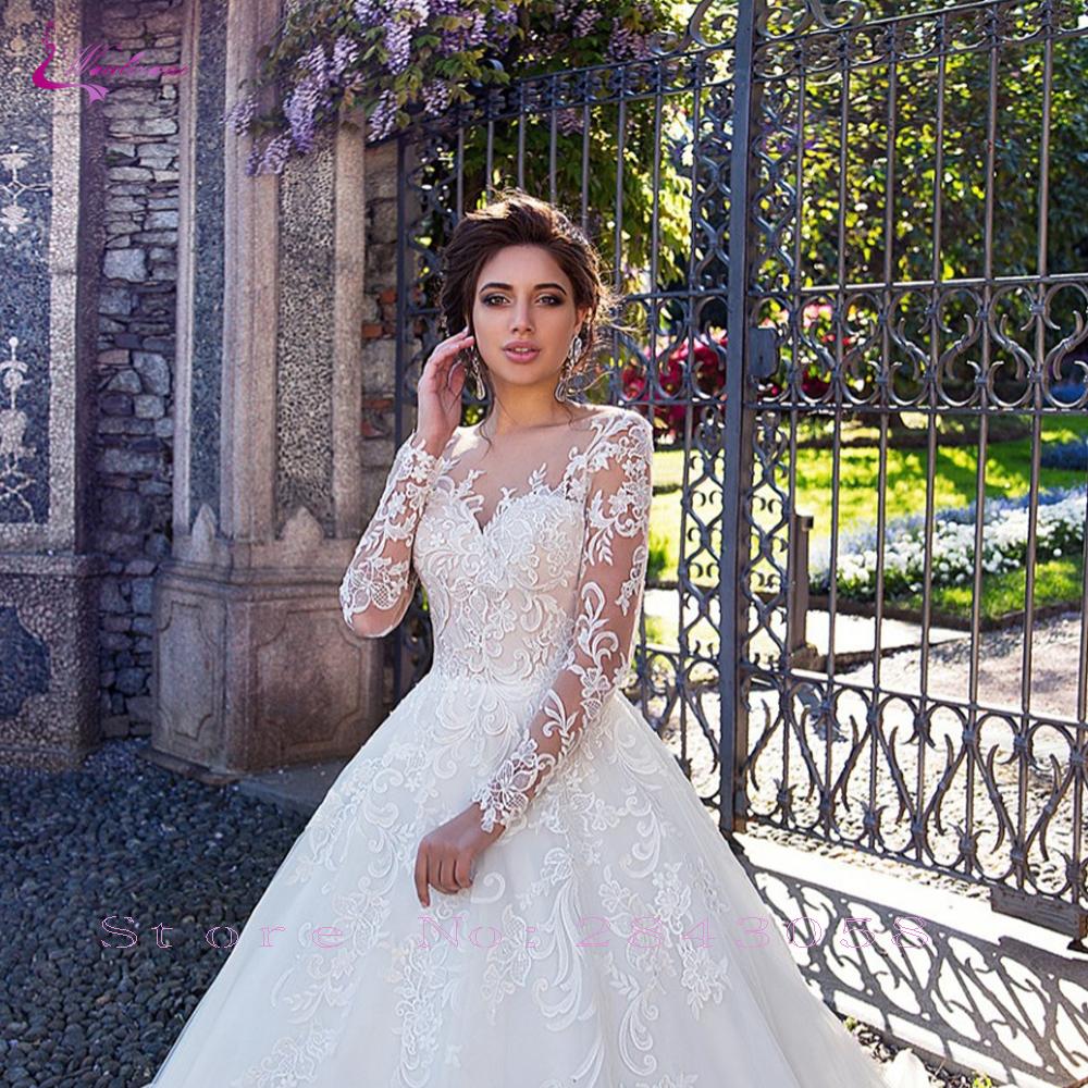 Waulizane Manicotto Pieno Una Linea di Abito da Sposa con Elegante Del Merletto di Chiusura con Bottoni Abito da Sposa