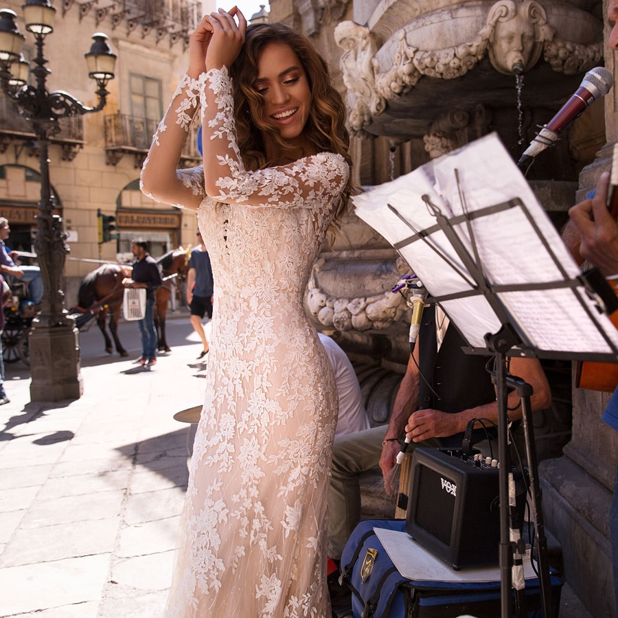 ADLN Sexy Del Merletto Della Sirena Abiti Da Sposa Lungo Del Manicotto di Applique Abiti Da Sposa Abiti Da Sposa Su Misura di Disegno