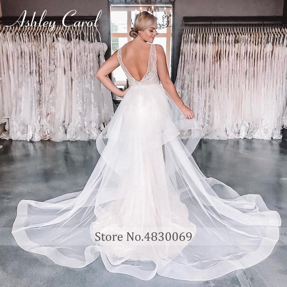 Ashley Carol Sexy Del V-Neckline Del Merletto Della Sirena Abiti da Sposa 2019 di Lusso in Rilievo Staccabile Del Treno Vestito da Sposa Romantico Abiti da Sposa