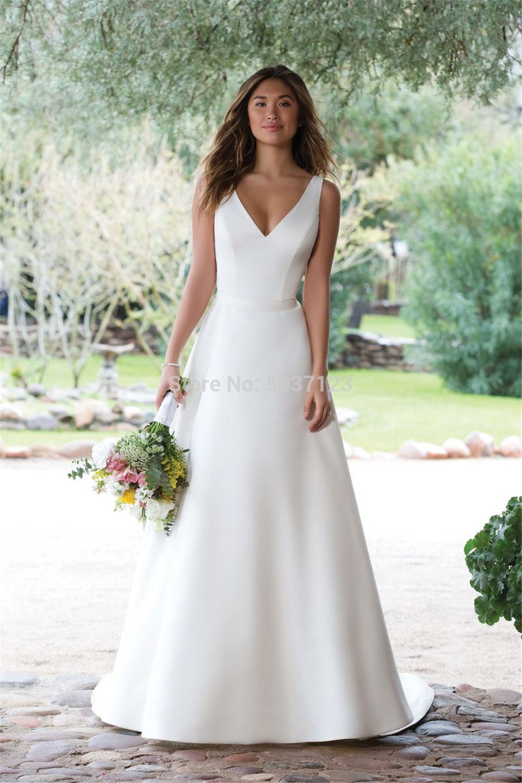 Raso Abiti Da Sposa 2019 UNA Linea di Collo A V Bianco Avorio Illusion Pulsante Da Sposa Abiti Da Sposa Vestido De Noiva Corte Dei Treni
