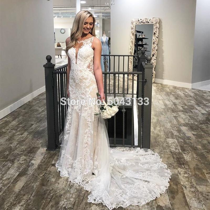 2019 Mermaid Abiti da Sposa Scoop Neck Backless Del Merletto Appliques Senza Maniche Elegante Vestido da Sposa Abiti da Sposa Cappella Treno Abito da Sposa