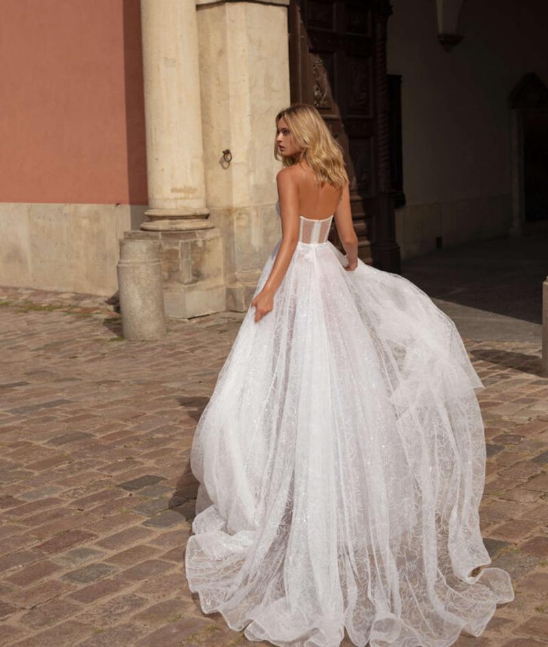 Verngo Boho Abito Da Sposa 2020 Scintillante Strappare Le Erbacce Abiti Backless Una linea di Abito Da Sposa Sposa Abito Vestido Noiva Trouwjurk