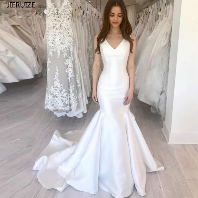 JIERUIZE Bianco Della Sirena del Raso Abiti Da Sposa Semplici 2020 Con Scollo A V In Pizzo su Indietro Boho Vestito Da Sposa A Buon Mercato Abiti Da Sposa robe de da sposa da sposa