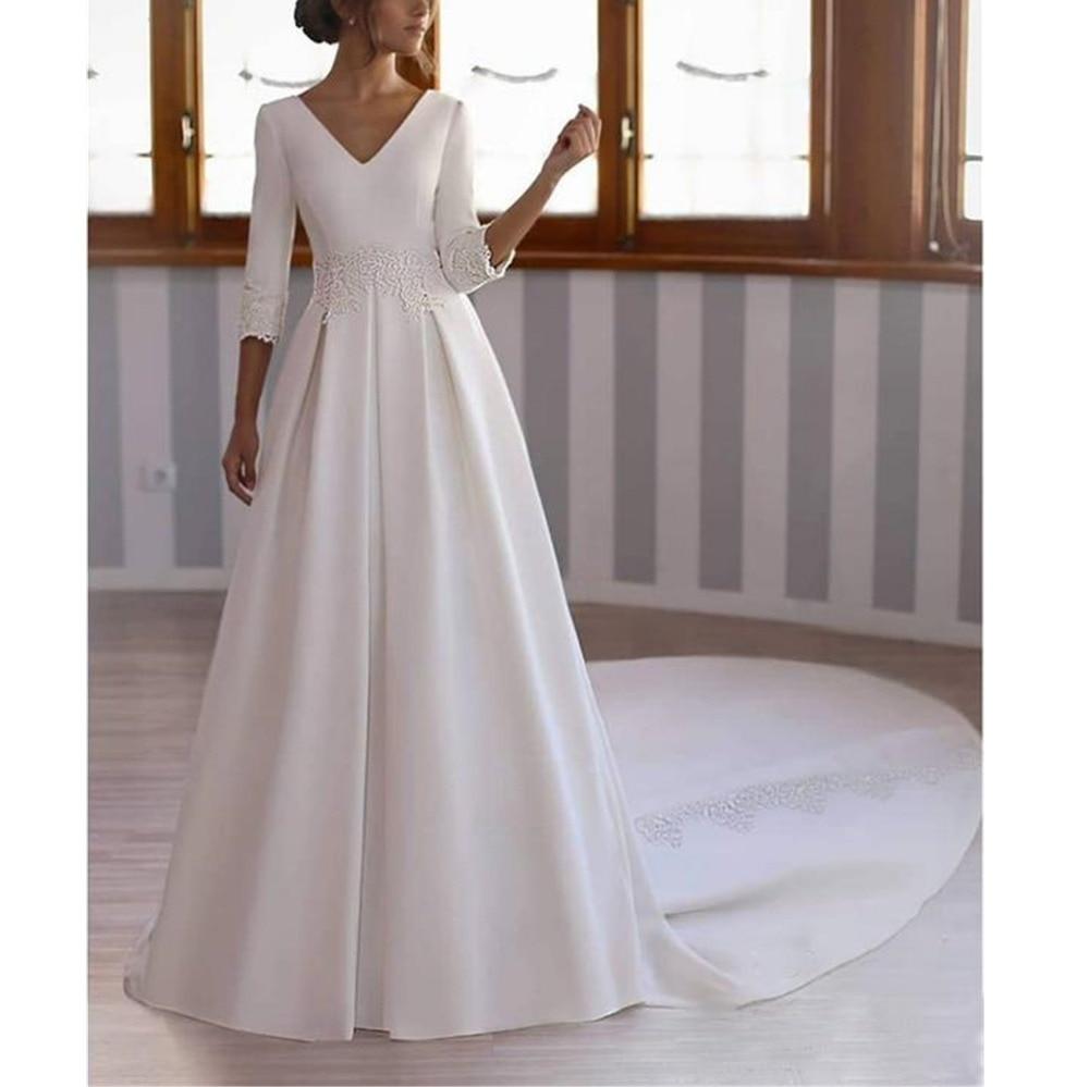 Glamorous Bianco Raso Robe da Sposa 3/4 Maniche Con Scollo A V Corte Dei Treni Backless a Vita Naturale Una Linea di Appliques Abiti Da Sposa