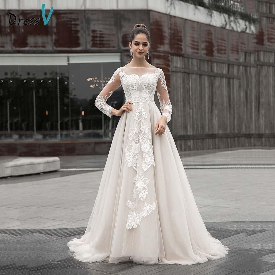 Dressv elegante avorio abito da sposa scoop neck maniche lunghe appliques button lace una linea esterna e chiesa abiti da sposa