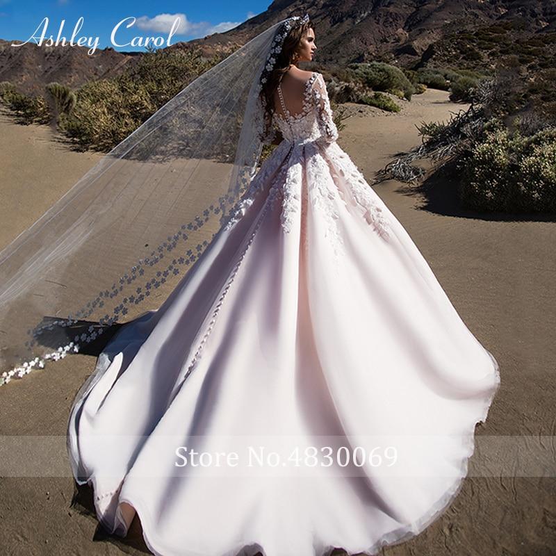 Ashley Carol Sexy Scoop 3D Fiori di Perline Abito da Sposa Della Principessa 2019 Mezza Manica Una Linea Vintage Abiti da Sposa Vestido De Noiva
