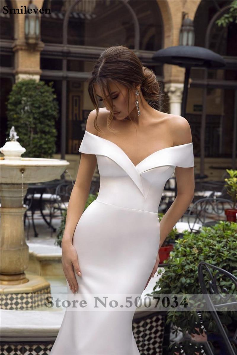 2019 Della Boemia Della Sirena Abiti Da Sposa In Raso Al Largo Della Spalla Abiti Da Sposa Vestido De Noiva Principessa Abiti Da Sposa