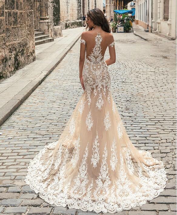 Vestido De Noiva Illusione Posteriore Della Sirena di Champagne Pizzo Abiti da Sposa 2019 Al Largo Della Spalla Appliques di Tulle Abiti da Sposa