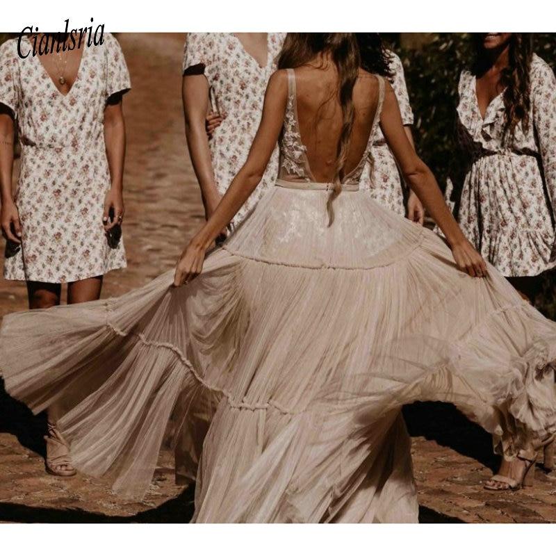 Nude Champagne Abiti Da Sposa 2020 Profondo Scollo A V Della Boemia Profondo Scollo A V Stravagante Boho Dreamy Abiti Da Sposa Beach Vestido De Noiva