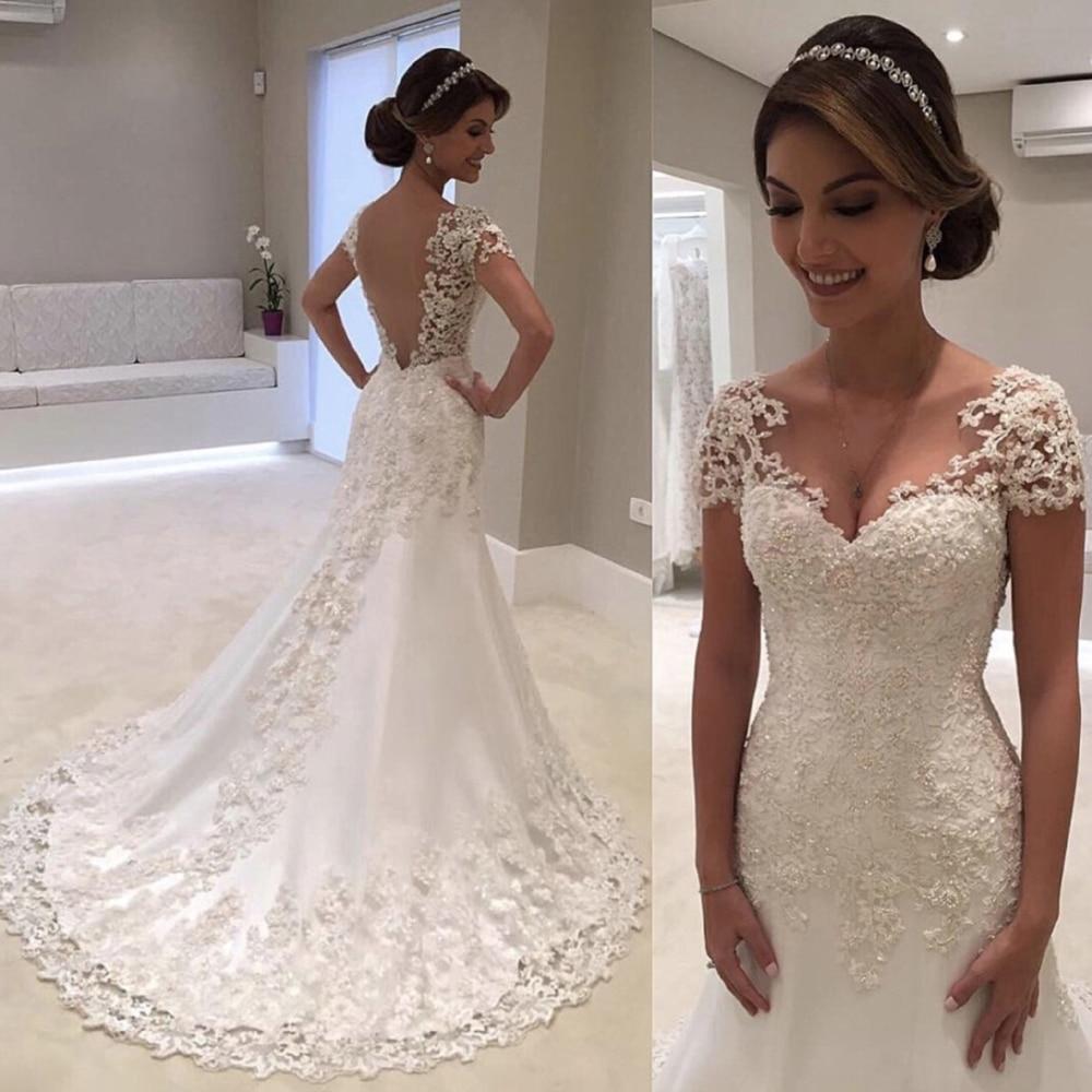 Fansmile Illusion Vestido De Noiva Bianco Backless Della Sirena Del Merletto Abito Da Sposa 2019 Manica Corta Abito Da Sposa Vestito Da Sposa FSM-453M