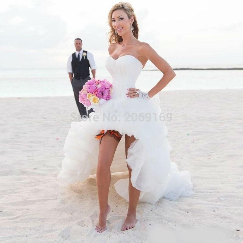 Nuovo Arrivo 2020 Abito Da Sposa Sweetheart Alto-basso Lace-up Torna Ruffles Breve Posteriore Lungo Anteriore Da Sposa vestito