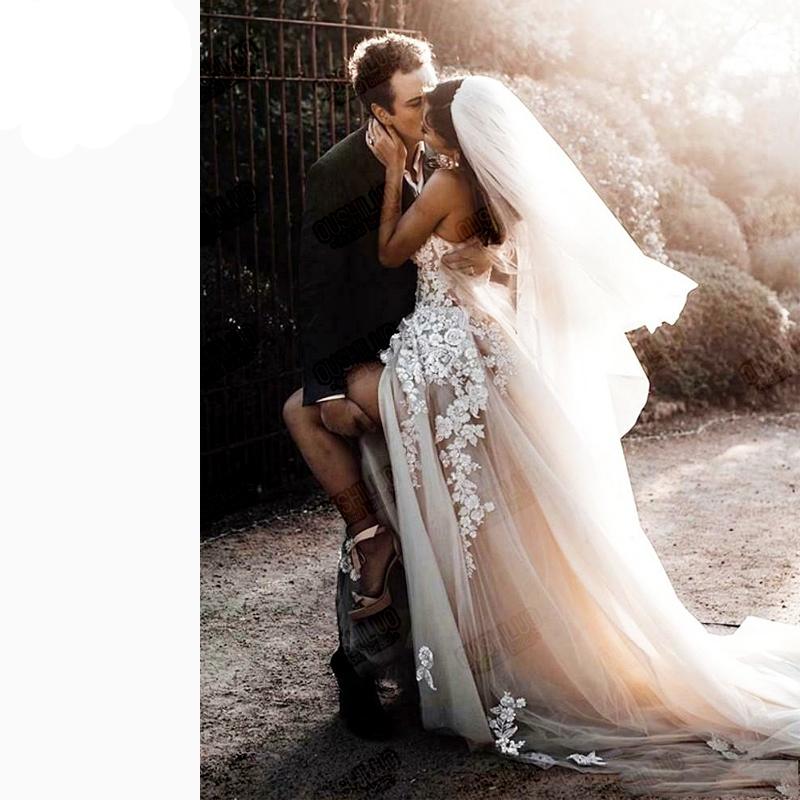 Aperto Indietro Abiti Da Cerimonia Nuziale Della Boemia 2020 Paese Abito Da Sposa di Boho Lungo Backless Abito Da Sposa bianco Puro di Tulle Con I Appliques