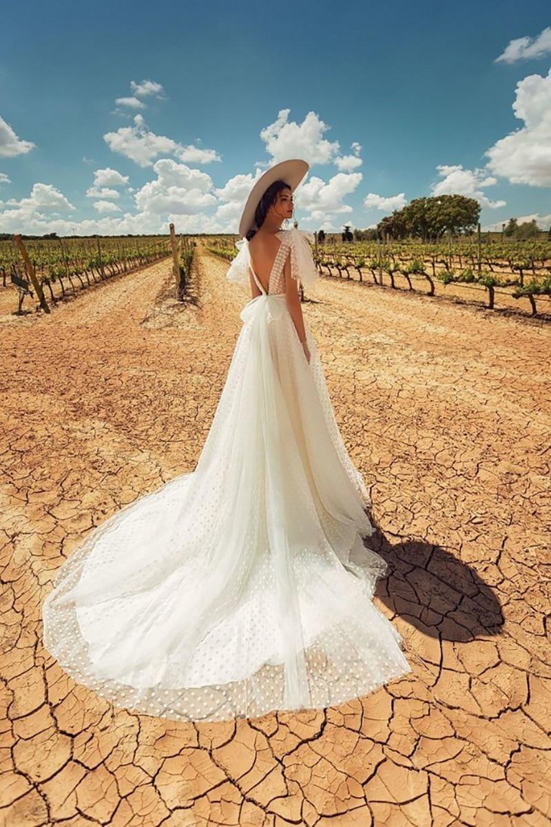 Verngo Una Linea di Abito Da Sposa Backless Abiti Da Sposa Elegante Abito Da Sposa Classico Punto di Bianco Vestito Lungo Abito Da Sposa