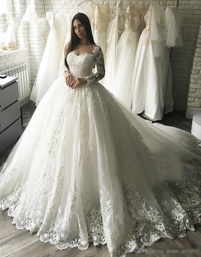 ZL1037 Nuovo Gorgesous Maniche Lunghe Abito di Sfera Abiti da Sposa in Pizzo Abito da Sposa Celebrità Vestido De Noiva Abito da Sposa di Lusso