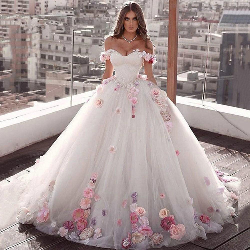 Favoloso Abito da sposa vaporoso con fiori applicati – OUTLET SPOSI DD04