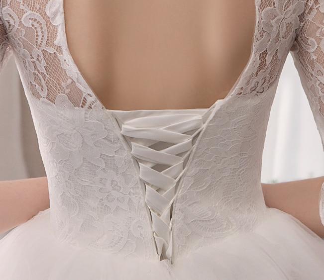 Bianco a Buon Mercato Abiti da Sposa Mezza Manica Collo Alto in Pizzo Appliques Abito di Sfera Abiti da Sposa Eleganti per La Sposa Vestido da Sposa Abiti da Sposa 2020