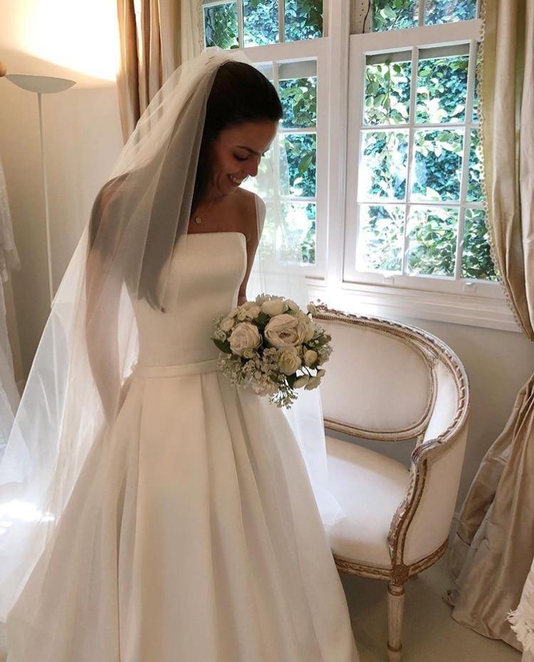 Semplice Boho Una Linea di Abiti Da Sposa 2019 Senza Spalline In Raso Drappeggiato Abito Da Sposa Arco Fiocchi e Fasce Vestidos De Noiva Abiti Da Sposa a Basso Costo