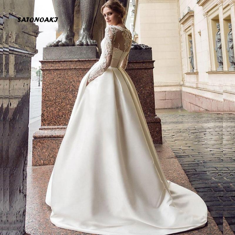 SATONOAKI Manica Lunga Modest Abiti Da Sposa Turchia Scoop Raso Appliqued A-Line Abito Da Sposa con Tasche abiti Da Sposa