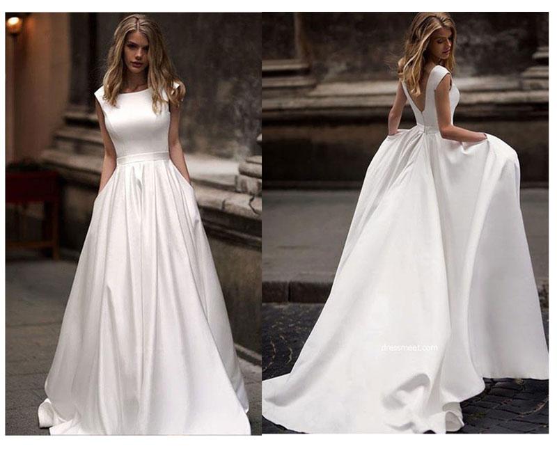 Autunno new abiti da novias boda Abiti Da Sposa Da Sposa In Raso Da Sposa Abiti Da Sposa vestido de noiva sheer sexy V-back hochzeitskleid
