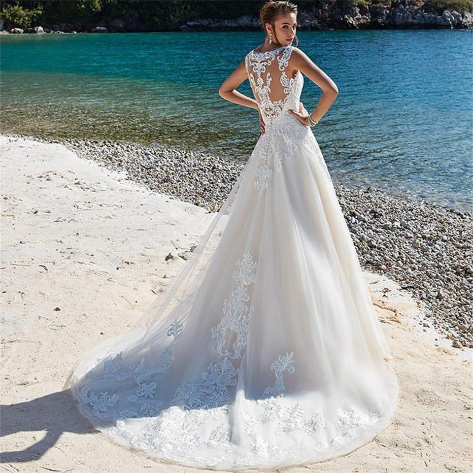 SoDigne Abiti Da Sposa Del Merletto di Applique Senza Maniche Illusion Spiaggia abito Da Sposa Abiti Da Sposa abiti da sposa Pluse formato sukienki