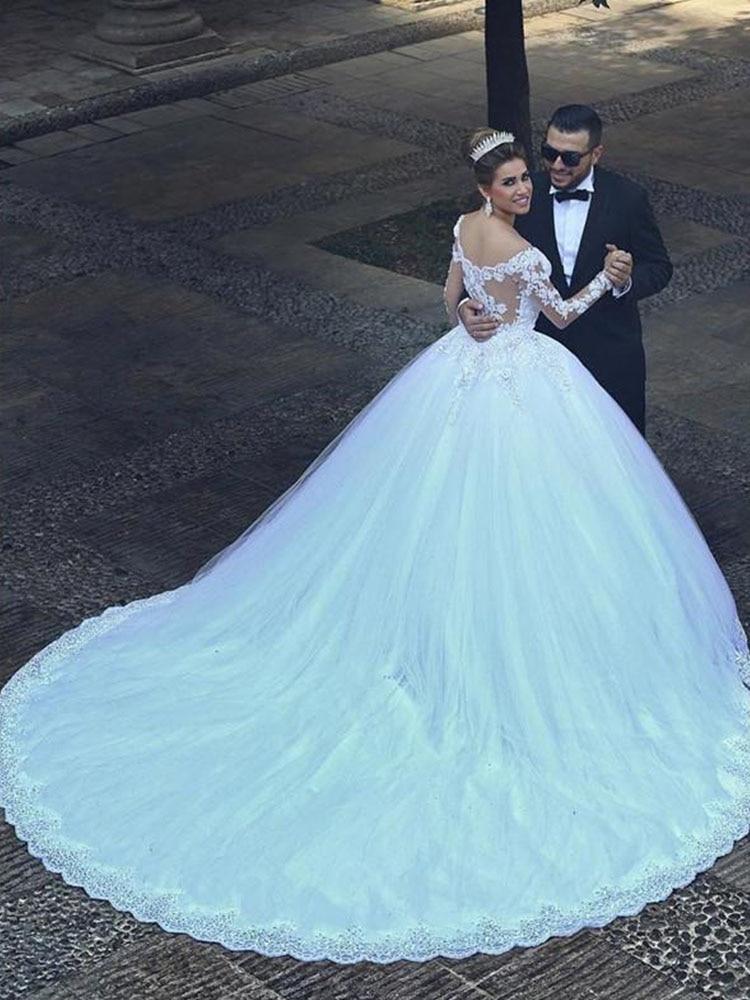 Trajes De Novia 2019 Abito Da Sposa Plus Size abito di Sfera Sposa Fat Sposa Matrimonio Abiti Da Sposa Turchia Maniche Lunghe Robe De da sposa da sposa