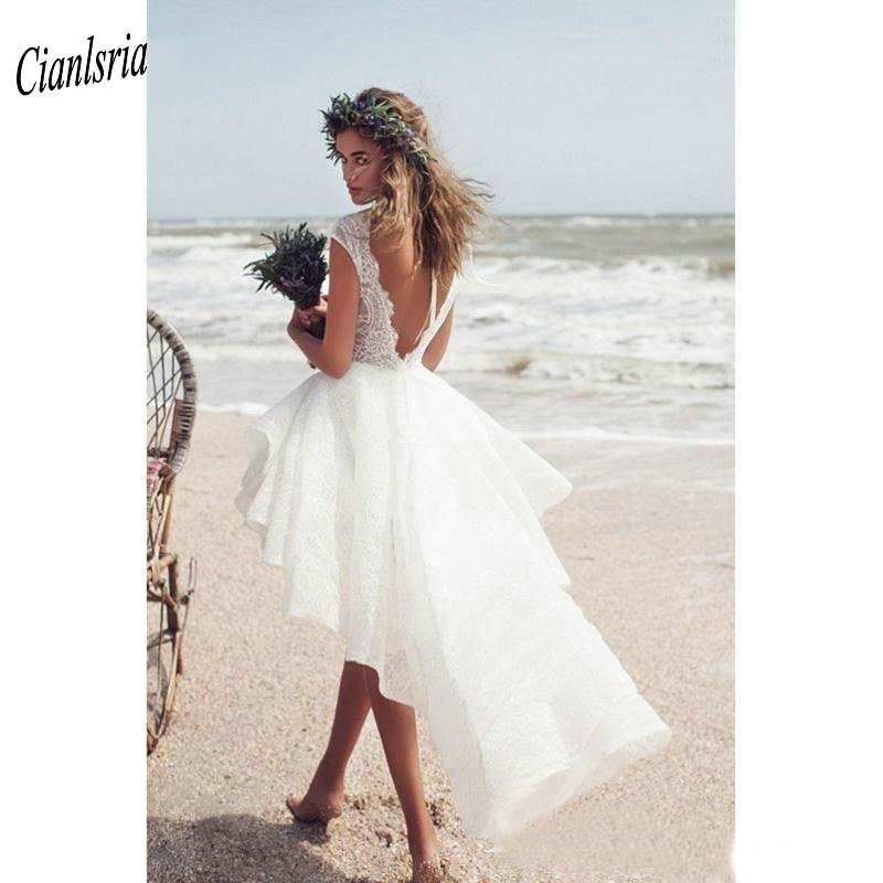Sexy Backless Beach High Low Abiti Da Sposa A Buon Mercato Boat Neck Cap Manica Corta Boho Custom Made Abito Da Sposa Vestido De noiva