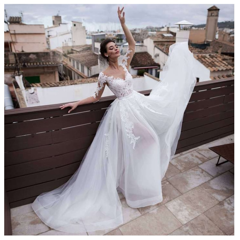 LORIE 2019 Spiaggia Abito Da Sposa Scoop Appliqued Treno Staccabile Abito Da Sposa Mezze Maniche Boho Breve pannello esterno del Vestito Da Sposa
