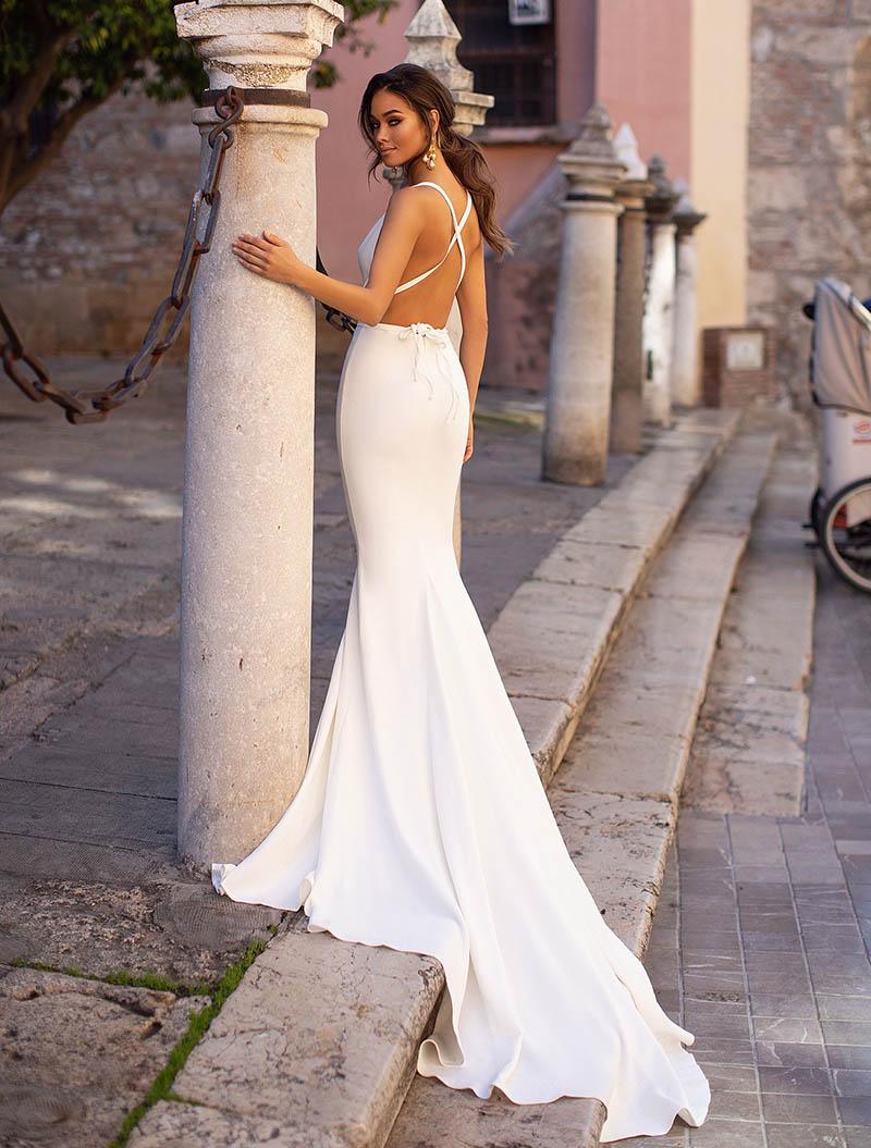 Smileven Della Sirena Abito Da Sposa di Spaghetti Cinghie Senza Maniche In Pizzo Top Beach Abiti Da Sposa Treno abito Da Sposa Elegante Sposa Abiti Da Sposa 2019