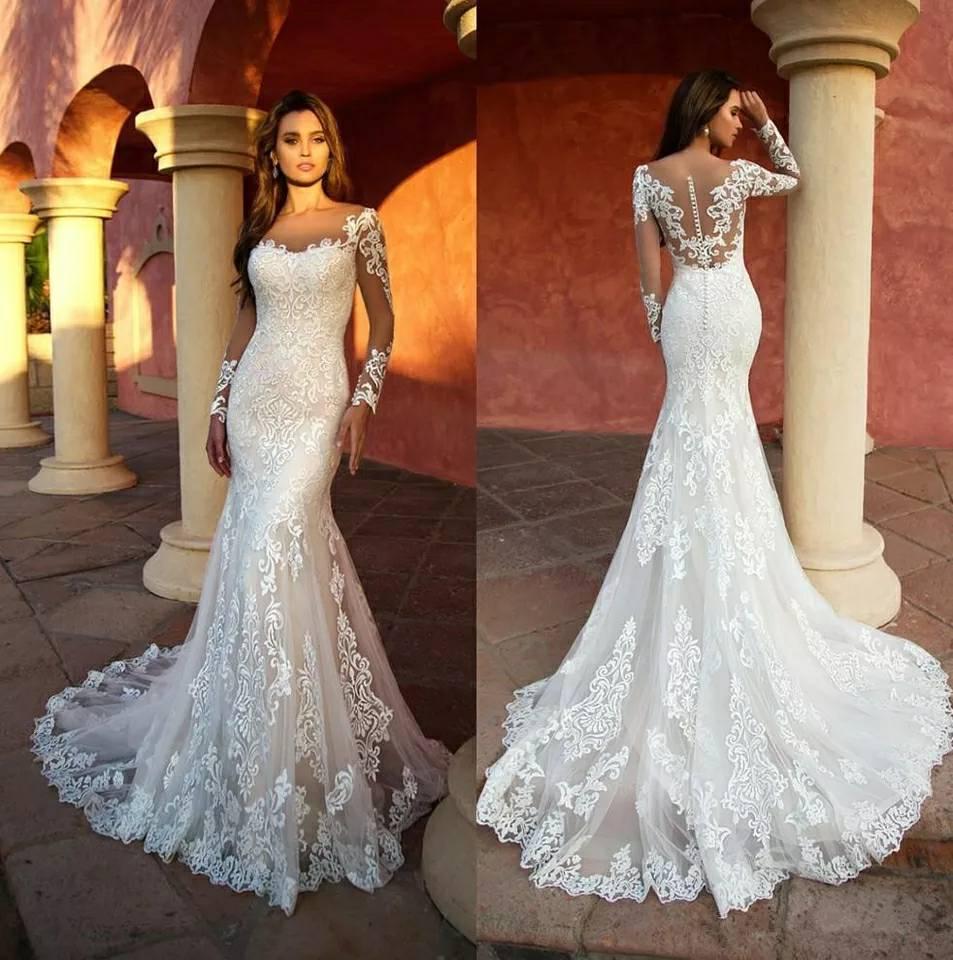 Su Ordine Della Sirena Del Merletto Abiti da Sposa Manica Lunga Bianco Abito da Sposa Sexy Dell'annata 2019 Vestito da Sposa Robe De Mariage