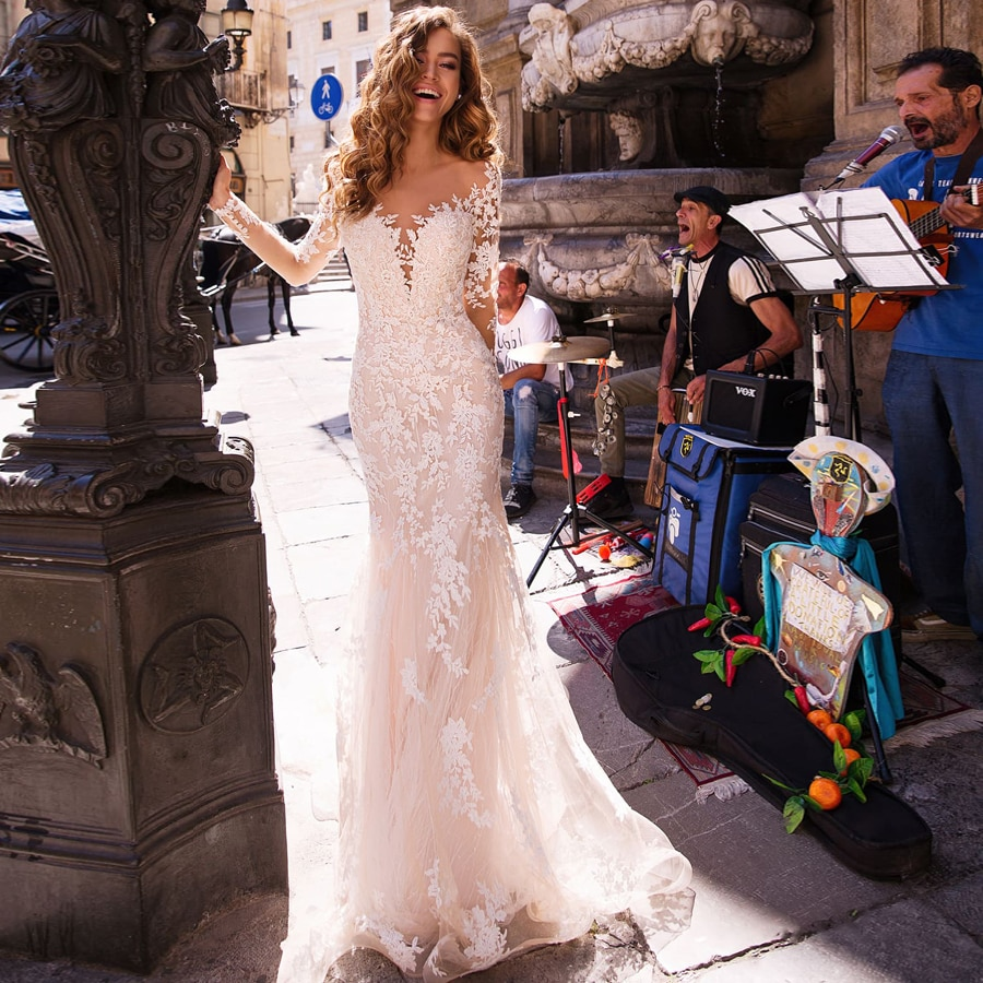 Maniche lunghe Doppio Spalla Appliqued Pizzo Abiti Da Sposa 2019 Della Sirena/Tromba Treno Illusion abito da sposa vestito