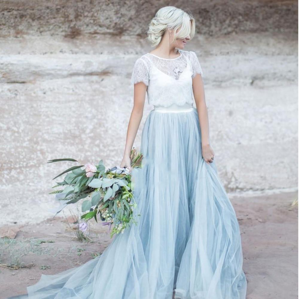 Cielo Blu Del Merletto Vestito Da Sposa Maniche Corte Una Linea di Abito Da Sposa Romantico abiti da sposa 2019 A Buon Mercato di Alta Qualità Abito Da Sposa