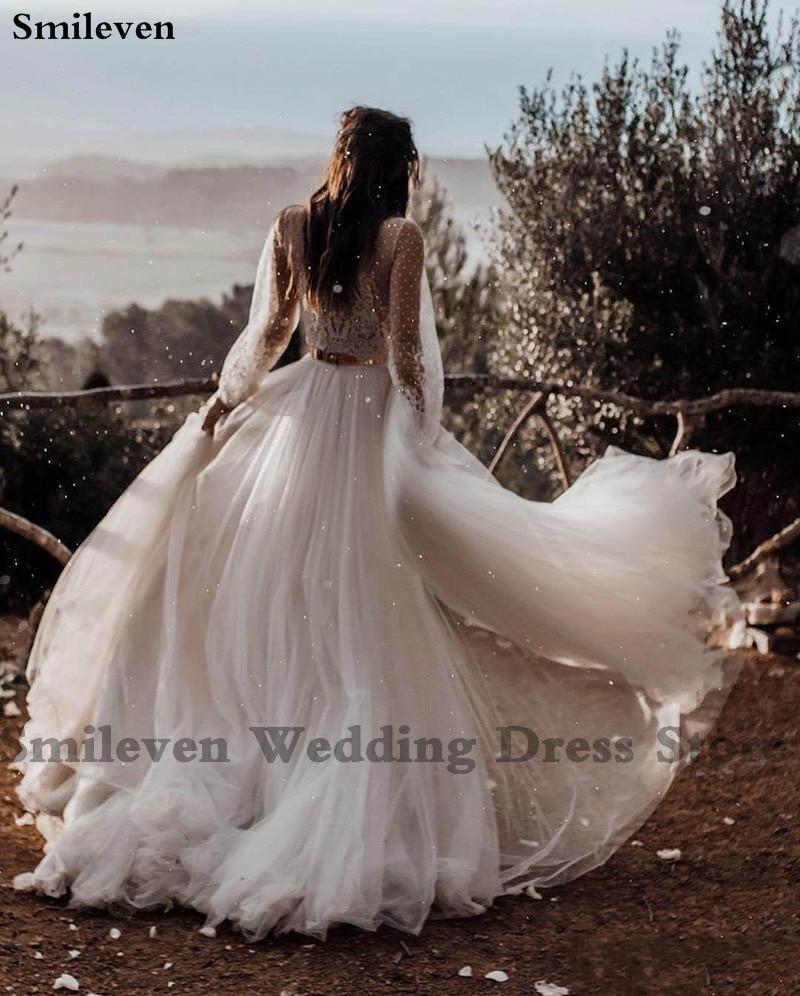 Smileven Boho UNA Linea di Abito Da Sposa Puff Maniche 2020 Sexy Scollo A V Abiti Da Sposa vestido de casamento Soffio di Tulle Da Sposa abiti