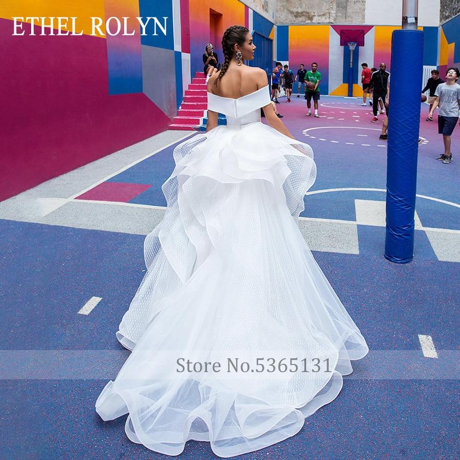 Ethel Rolyn Scollo a Barca Sexy Romantica Sirena Abiti da Sposa con Maniche Staccabili Treno D'epoca Abiti da Sposa Vestido De Novia