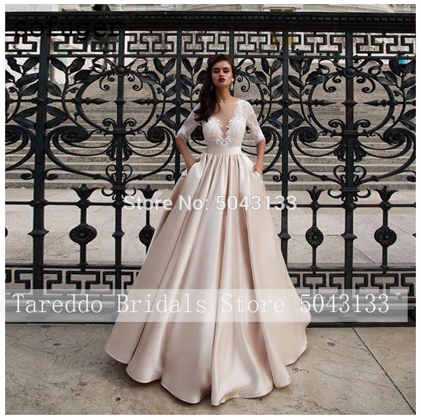 Elegante Raso Abiti da Sposa con Tasca Abiti Noiva Mezze Maniche in Pizzo Abiti da Sposa 2020 di Lunghezza Del Pavimento di Champagne Vestito da Sposa