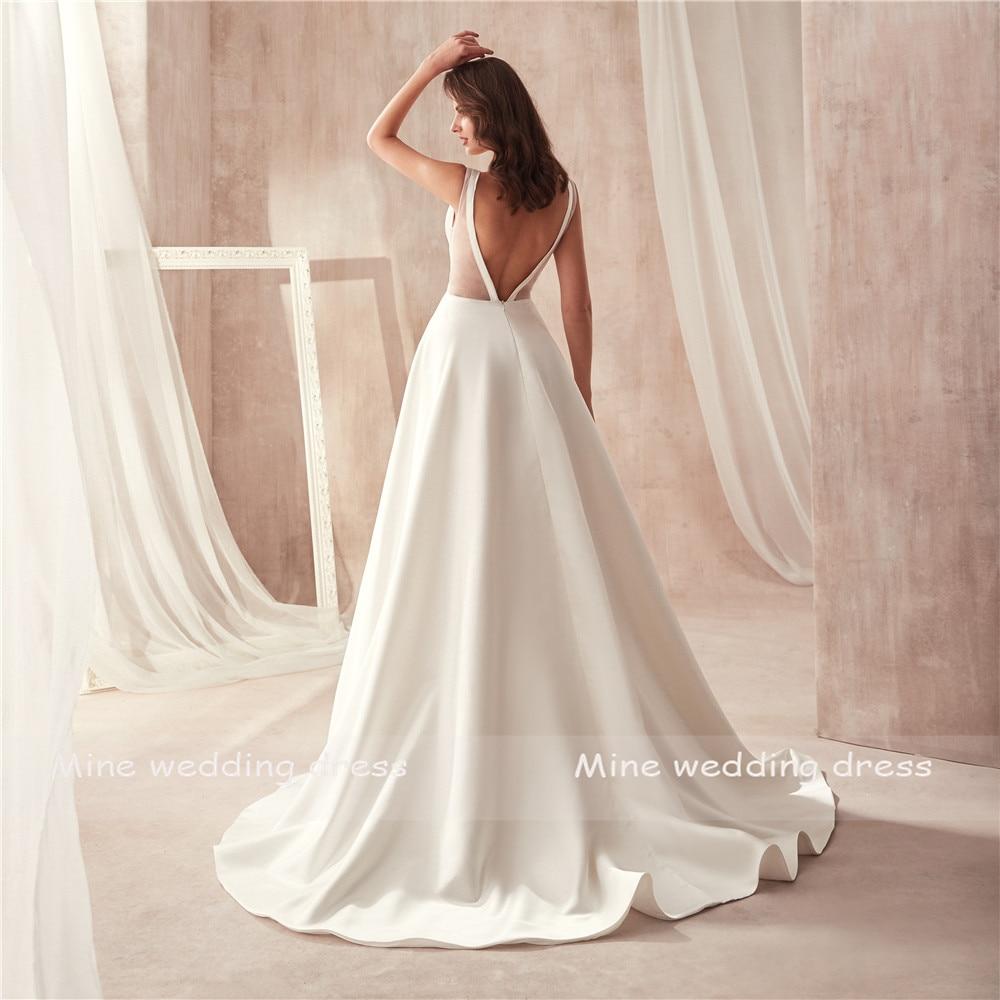 Famoso Disegno di Raso Abito da Sposa con Tasca con Scollo a V Ritaglio Laterale Aperto Indietro da Sposa Tasca Del Vestito Vestido Longo De Festa