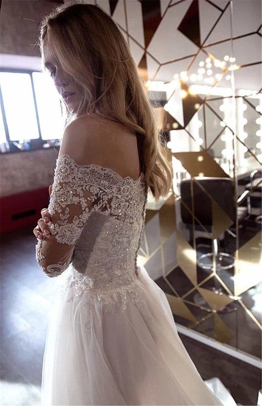 Al largo della Spalla Maniche Lunghe Cristalli di Applique Abito Da Sposa A-Line abiti da sposa sencillos con il Tasto Abito Da Sposa