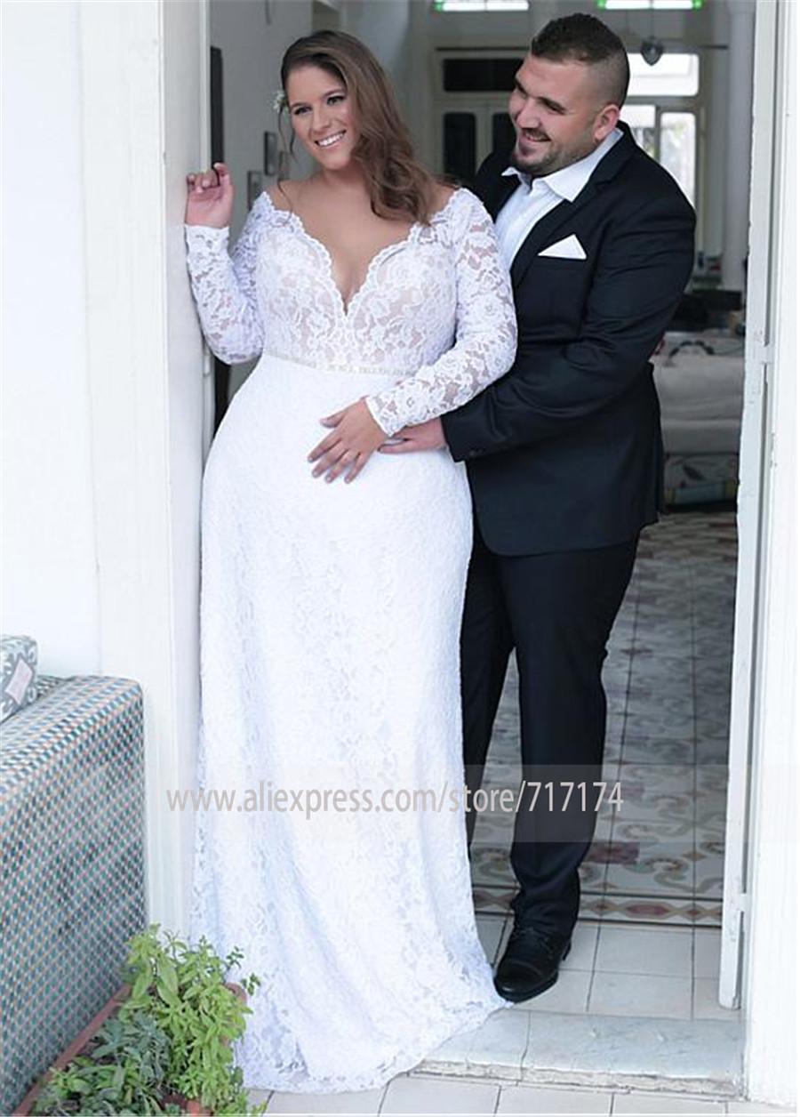 Alla Moda Del Merletto Jewel Neckline Del Fodero/Colonna Plus Size Abiti da Sposa con Liste Aperto Indietro Pizzo Bianco da Sposa Abiti da Sposa