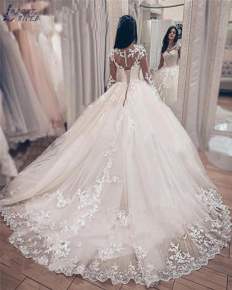 ZL1050 Elegante di Applique Del Merletto Maniche Lunghe Abito di Sfera Abiti Da Sposa Abito Da Sposa Celebrità vestido De Noiva 2019 robe de mariee