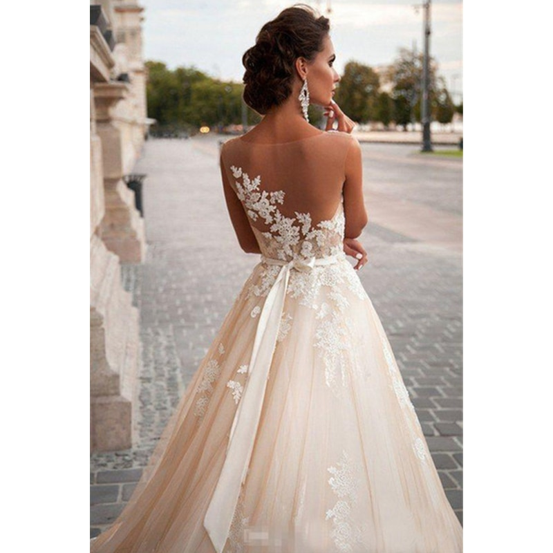 Scoop Illusion Abiti da Sposa Lungo di Applique Del Merletto Che Borda Vita Sweep Treno Abito Abito da Sposa con Staccabile Sash Bordare