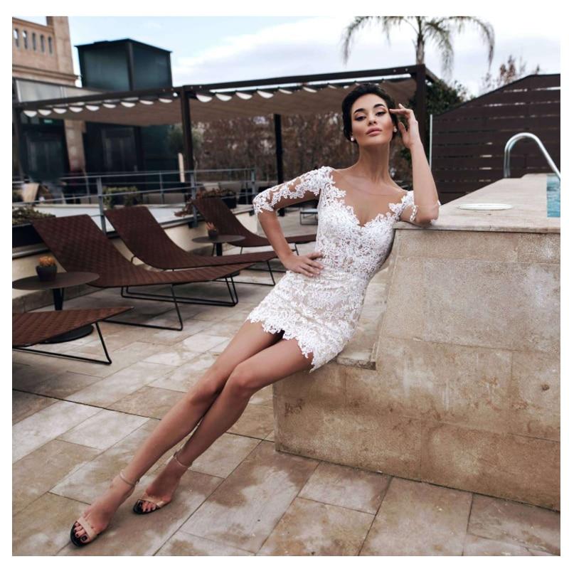 Smileven Abito Da Sposa Mezze Maniche Mini Breve Camicia Abiti Da Sposa Da Sposa Abiti Da Sposa 2019 Custom Made