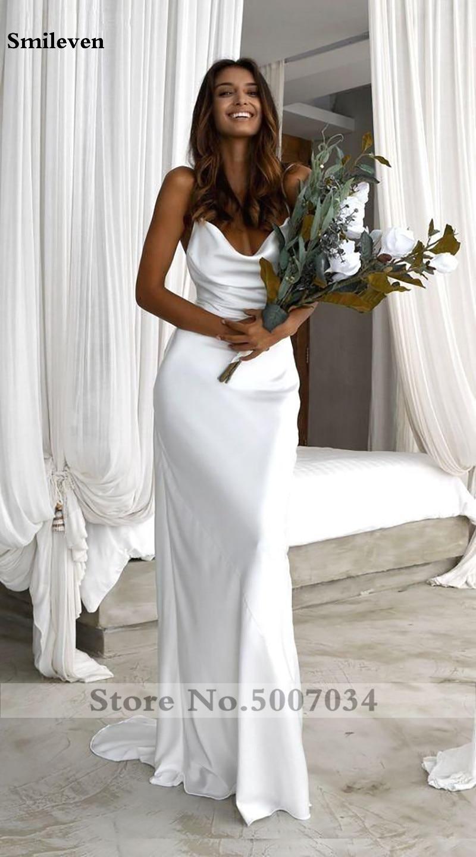 Smileven Spiaggia Abito Da Sposa Mermaid 2020 Boho Appliques Delle Cinghie di Spaghetti Vestido De Noiva Sweep Treno Da Sposa Abiti Da Sposa