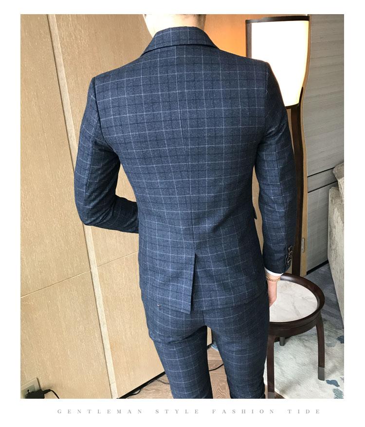 (Giacca + Pantaloni + Vest) degli Uomini di lusso del Vestito 3 Pezzi Set Boutique di Moda Reticolo Abito Da Sposa Sposo Smoking degli uomini Degli Uomini di Banchetto Club Dress